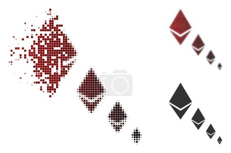 Illustration for Ethereum crystal defaltion icon in sparkle, pixelated halftone and undamaged entire versions. Pixels are arranged into vector dissolving Ethereum crystal defaltion icon. - Royalty Free Image