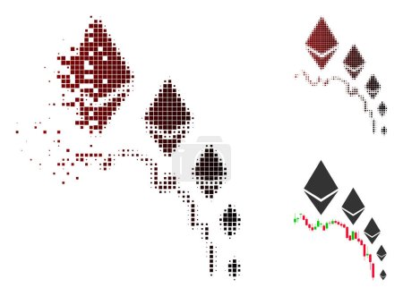 Illustration for Ethereum deflation chart icon in sparkle, dotted halftone and undamaged whole variants. Fragments are grouped into vector sparkle Ethereum deflation chart icon. - Royalty Free Image