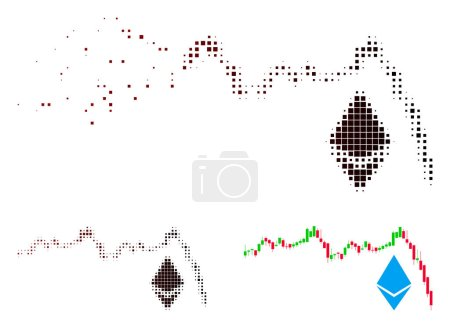 Illustration for Ethereum falling chart icon in sparkle, pixelated halftone and undamaged solid versions. Pixels are composed into vector disappearing Ethereum falling chart figure. - Royalty Free Image
