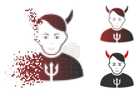 Illustration for Satan icon with face in dispersed, pixelated halftone and undamaged whole versions. Pieces are composed into vector dissipated satan shape. - Royalty Free Image