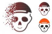 Sparkle Dot Halftone Skeleton Head Icon with Face