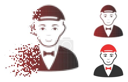 Illustration for Waiter icon with face in fractured, dotted halftone and undamaged whole versions. Pieces are combined into vector dispersed waiter icon. - Royalty Free Image