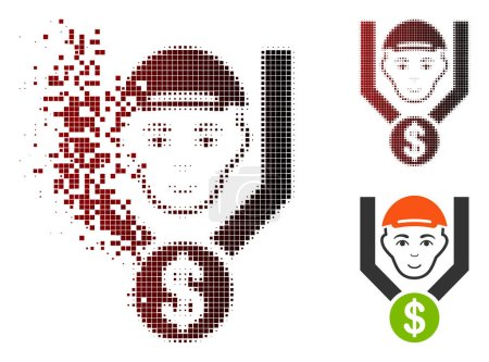 Illustration for Customer sales filter icon with face in sparkle, pixelated halftone and undamaged whole variants. Pieces are composed into vector sparkle customer sales filter icon. - Royalty Free Image