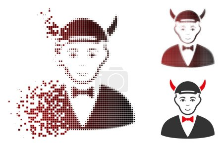 Illustration for Devil icon with face in fractured, dotted halftone and undamaged whole versions. Points are organized into vector disappearing devil icon. - Royalty Free Image