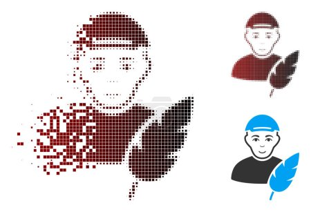 Illustration for Feather writer icon with face in dispersed, dotted halftone and undamaged solid versions. Pixels are organized into vector dispersed feather writer symbol. - Royalty Free Image