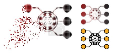 Illustration for Casino chip circuit icon in dissolved, pixelated halftone and undamaged entire versions. Elements are organized into vector disappearing casino chip circuit symbol. - Royalty Free Image