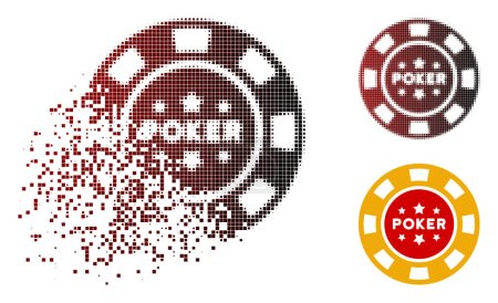 Illustration for Poker casino chip icon in fractured, dotted halftone and undamaged solid versions. Particles are grouped into vector disappearing poker casino chip symbol. - Royalty Free Image