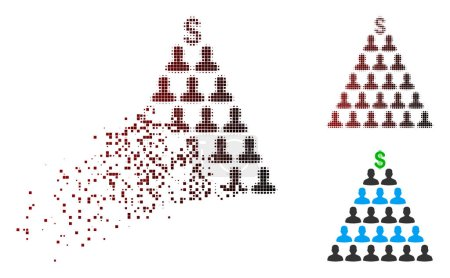 Illustration for Ponzi pyramid scheme icon in dispersed, pixelated halftone and undamaged solid variants. Fragments are arranged into vector dispersed Ponzi pyramid scheme icon. - Royalty Free Image