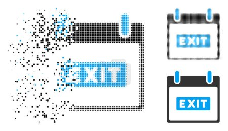 Exit caption calendar day icon in dissolved, dotte...