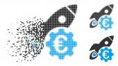 Dissolving Pixelated Halftone Euro Rocket Science Icon