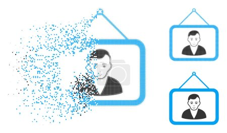 Illustration for Man portrait icon with face in dispersed, dotted halftone and undamaged whole versions. Cells are grouped into vector disappearing man portrait icon. Disappearing effect uses rectangular dots. - Royalty Free Image