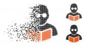 Disintegrating Pixelated Halftone Student Reading Book Icon