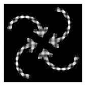 White Halftone Whirl Arrows Icon
