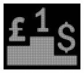 White Halftone Dollar Pound Competition Icon