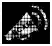 White Halftone Scam Alert Megaphone Icon