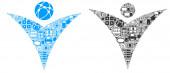 Futuristic Man Mosaic Icon for BigData and Computing