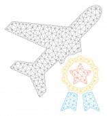 Airplane Certification Polygonal Frame Vector Mesh Illustration