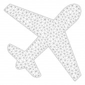 Airplane Polygonal Frame Vector Mesh Illustration
