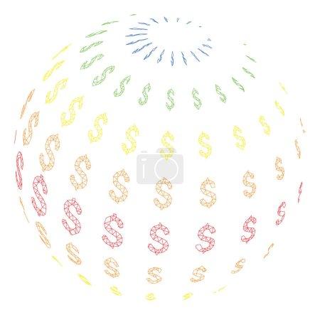 Illustration pour Illustration d'icône polygonale de sphère de dollar abstraite de maille. Les lignes de maillage abstraites et les points forment une sphère de dollar abstrait triangulaire . - image libre de droit