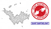 Polygonal Carcass Saint Barthelemy Map and Grunge Stamps