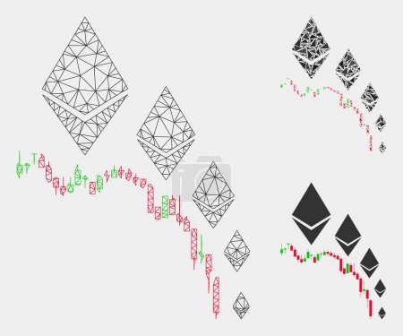 Illustration for Mesh Ethereum deflation chart model with triangle mosaic icon. Wire frame polygonal mesh of Ethereum deflation chart. Vector composition of triangle elements in different sizes and color shades. - Royalty Free Image