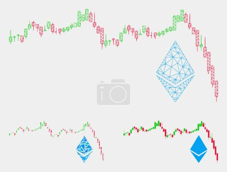 Illustration for Mesh Ethereum falling chart model with triangle mosaic icon. Wire frame polygonal mesh of Ethereum falling chart. Vector mosaic of triangle elements in different sizes and color tints. - Royalty Free Image