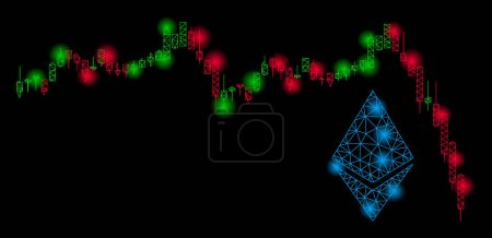 Illustration for Bright mesh Ethereum falling chart with glare effect. Abstract illuminated model of Ethereum falling chart icon. Shiny wire frame polygonal mesh Ethereum falling chart. - Royalty Free Image