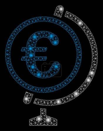 Illustration pour Maille lumineuse Euro globe avec effet éblouissant. Modèle illuminé abstrait de l'icône de l'Euro globe. Cadre en fil brillant maille triangulaire Euro globe. abstraction vectorielle sur fond noir . - image libre de droit
