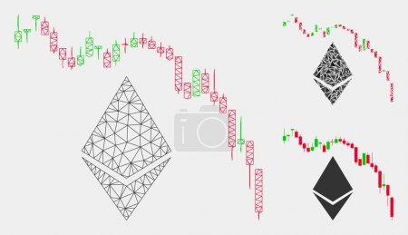 Illustration for Mesh Ethereum fall chart model with triangle mosaic icon. Wire carcass triangular mesh of Ethereum fall chart. Vector mosaic of triangle parts in various sizes and color tints. - Royalty Free Image