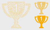 First Place Goblet Vector Mesh 2D Model and Triangle Mosaic Icon