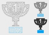 First Prize Cup Vector Mesh Wire Frame Model and Triangle Mosaic Icon