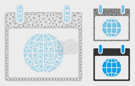 Illustration pour Modèle de jour calendrier globe Mesh avec icône de mosaïque triangle. Fil carcasse réseau polygonal de globe calendrier jour. Collage vectoriel d'éléments triangulaires en différentes tailles et nuances de couleurs . - image libre de droit