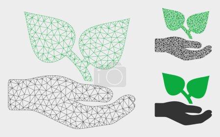 Illustration pour Modèle de main de soin de flore de maille avec l'icône de mosaïque de triangle. Maille triangulaire de fil de main de soin de flore. Mosaïque vectorielle d'éléments triangulaires de tailles variables et de nuances de couleur. - image libre de droit
