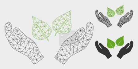 Illustration pour Modèle de mains de soin de flore de maille avec l'icône de mosaïque de triangle. Réseau triangulaire de carcasse de fil des mains de soin de flore. Mosaïque vectorielle de parties triangulaires de tailles variables et de tons de couleur. - image libre de droit