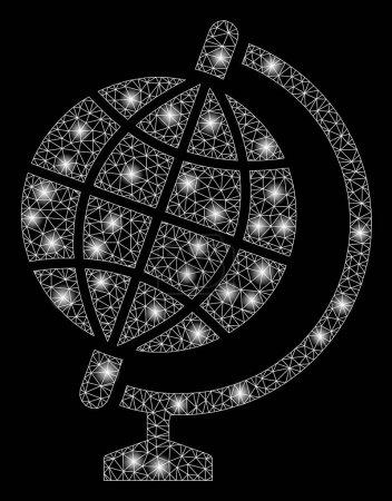 Illustration pour Globe maillé brillant avec effet scintillant. Modèle illuminé abstrait de l'icône du globe. Carcasse en fil brillant globe en maille polygonale. abstraction vectorielle sur fond noir . - image libre de droit