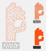 OK Gesture Vector Mesh Wire Frame Model and Triangle Mosaic Icon