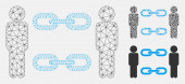 Men Chains Vector Mesh 2D Model and Triangle Mosaic Icon