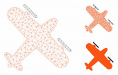 Screw Aeroplane Vector Mesh Carcass Model and Triangle Mosaic Icon