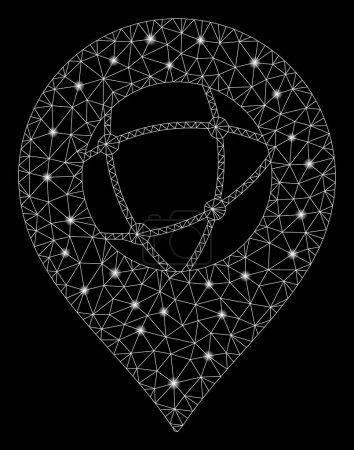 Illustration pour Marqueur de sphère en maille brillante avec effet de tache lumineuse. Modèle éclairé abstrait de l'icône du marqueur de sphère. Brillant cadre de fil marqueur de sphère de réseau polygonal. abstraction vectorielle sur fond noir . - image libre de droit