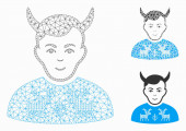 Deers Pullover Horned Husband Vector Mesh Network Model and Triangle Mosaic Icon