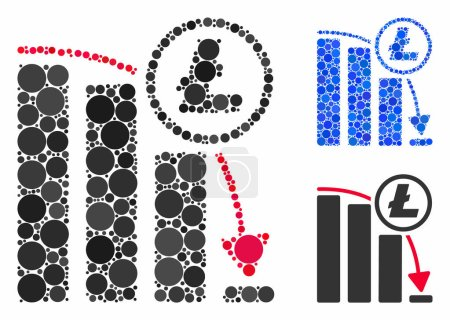 Illustration for Litecoin panic falling chart mosaic for Litecoin panic falling chart icon of spheric dots in different sizes and color tinges. Vector dots are composed into blue mosaic. - Royalty Free Image