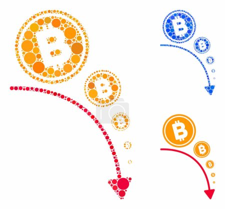 Illustration for Bitcoin deflation trend mosaic of circle elements in different sizes and color tones, based on Bitcoin deflation trend icon. Vector circle elements are grouped into blue mosaic. - Royalty Free Image