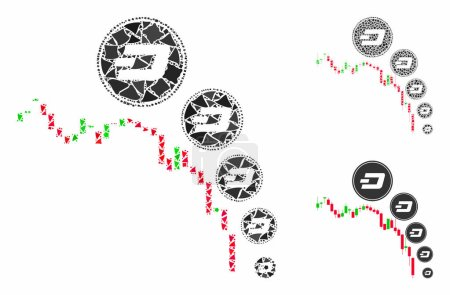 Illustration for Candlestick chart Dashcoin deflation mosaic of humpy parts in variable sizes and color tones, based on candlestick chart Dashcoin deflation icon. Vector tremulant parts are grouped into mosaic. - Royalty Free Image
