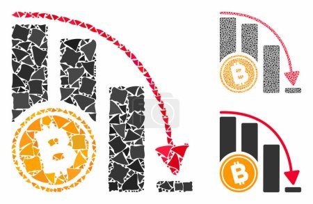 Illustration for Bitcoin falling acceleration chart mosaic of tremulant items in variable sizes and color hues, based on Bitcoin falling acceleration chart icon. Vector uneven items are united into collage. - Royalty Free Image