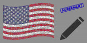 United States Flag Mosaic of Edit Pencil and Distress Agreement Stamp