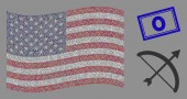 American Flag Stylization of Archery Bow and Textured 0 Seal