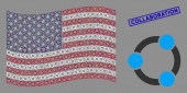 United States Flag Mosaic of Cooperation and Scratched Collaboration Seal