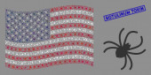 American Flag Mosaic of Spider and Textured Botulinum Toxin Seal