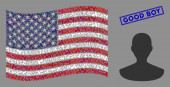 United States Flag Stylized Composition of Person and Grunge Good Boy Seal