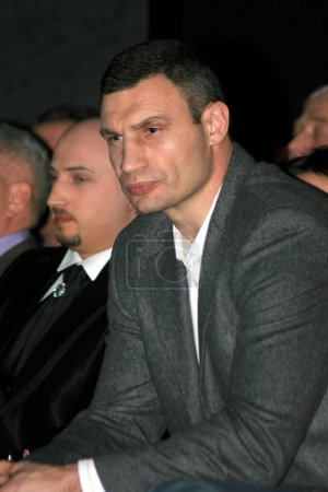 Brovary, UKRAINE,03.03.2010 Ukrainian politician, boxer Vitali Klitschko is sitting in auditorium as a spectator